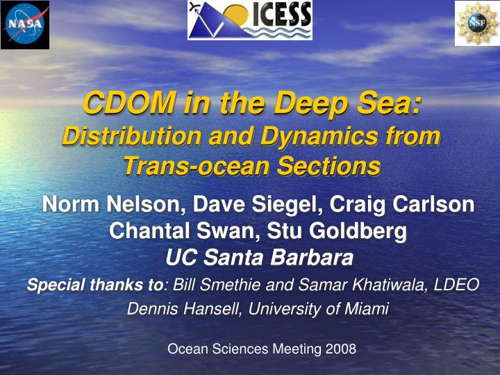 Cdom in the deep sea distribution and dynamics from trans ocean sections