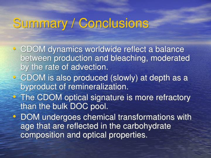 Summary / Conclusions