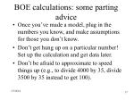 boe calculations some parting advice