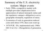summary of the u s electricity system major events