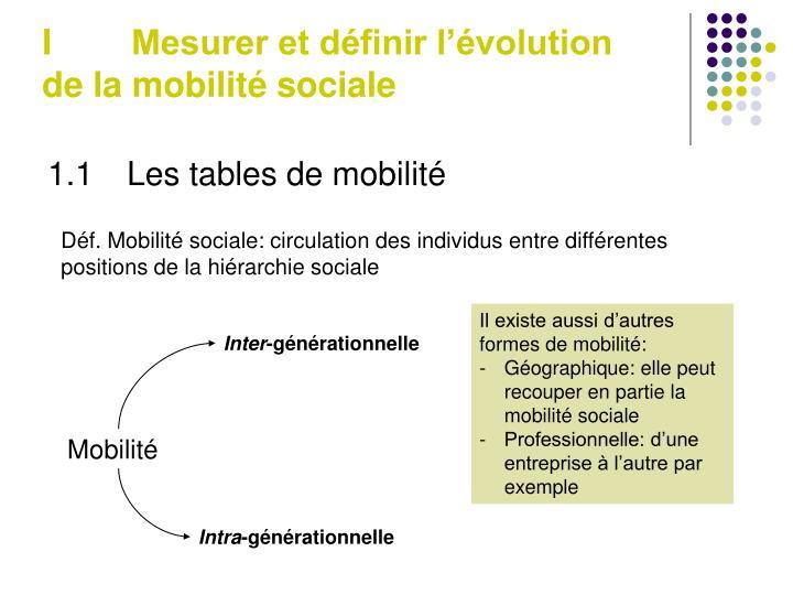 I Mesurer et définir l'évolution de la mobilité sociale