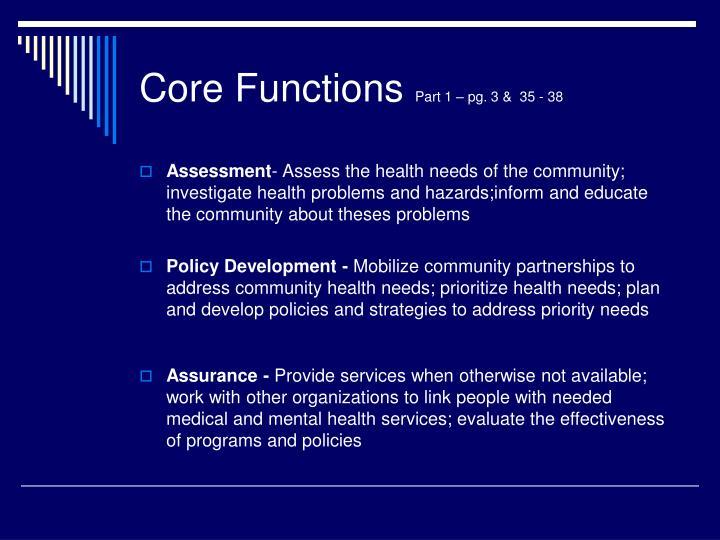 Core functions part 1 pg 3 35 38