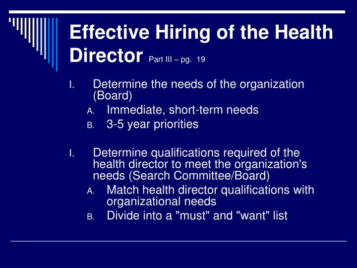 Effective Hiring of the Health Director