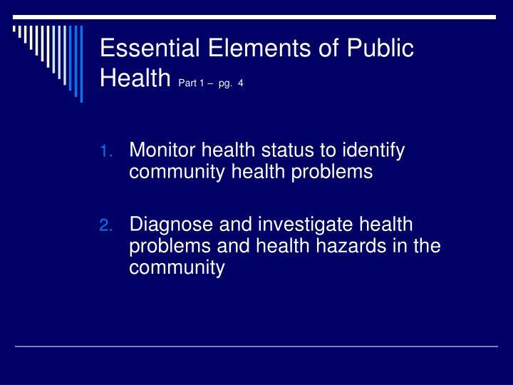 Essential elements of public health part 1 pg 4