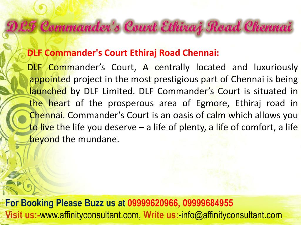 DLF Commander's Court Ethiraj Road Chennai
