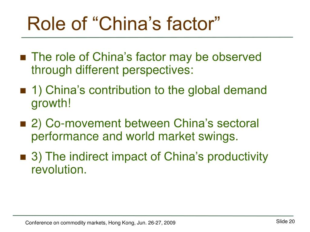 """Role of """"China's factor"""""""