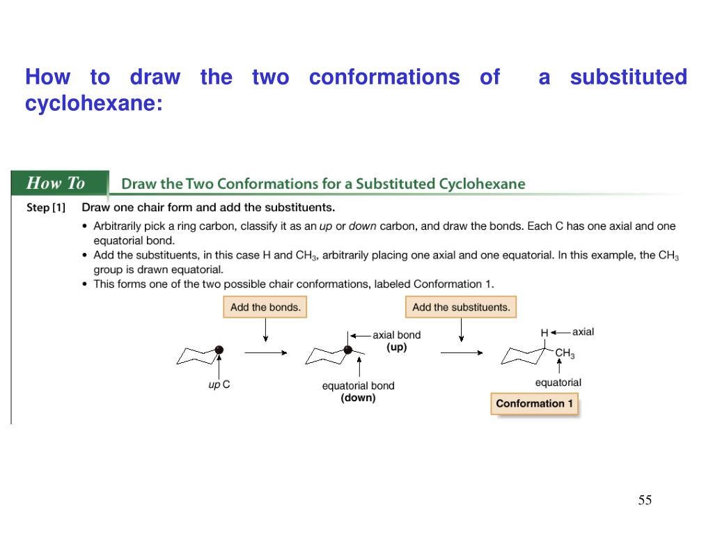 How to draw the two conformations of  a substituted cyclohexane: