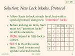 solution new lock modes protocol