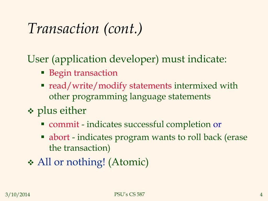 Transaction (cont.)