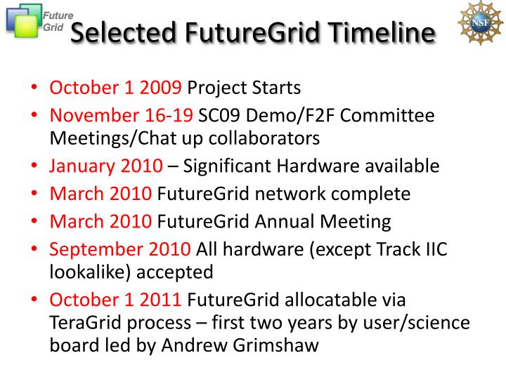 Selected FutureGrid Timeline