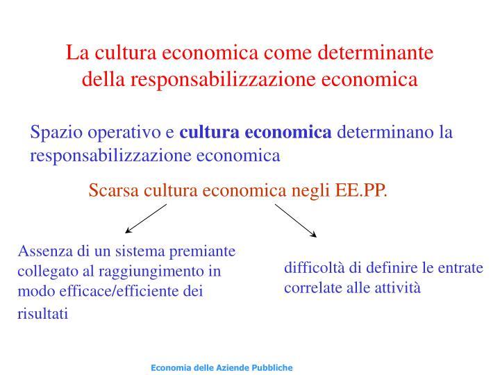 La cultura economica come determinante della responsabilizzazione economica
