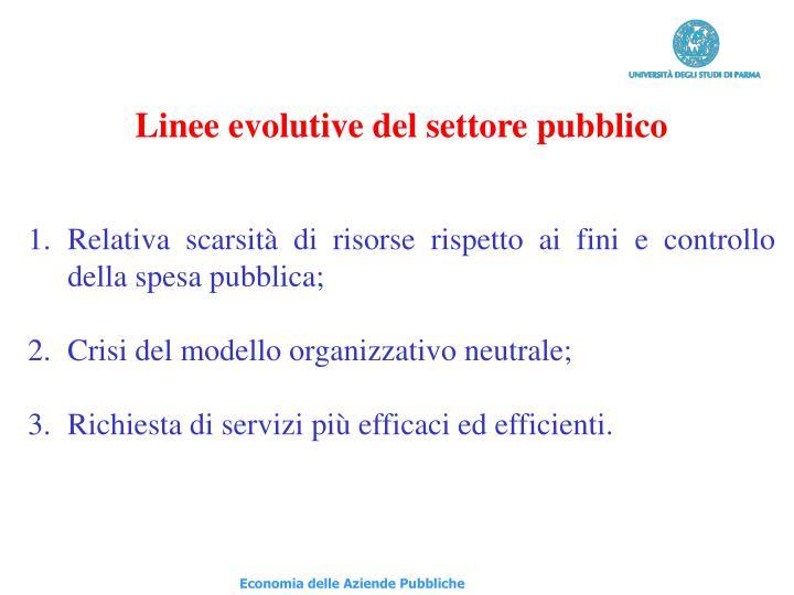 Linee evolutive del settore pubblico