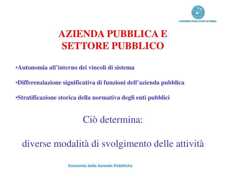 AZIENDA PUBBLICA E