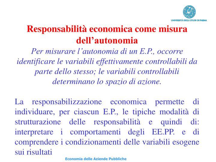 Responsabilità economica come misura dell'autonomia