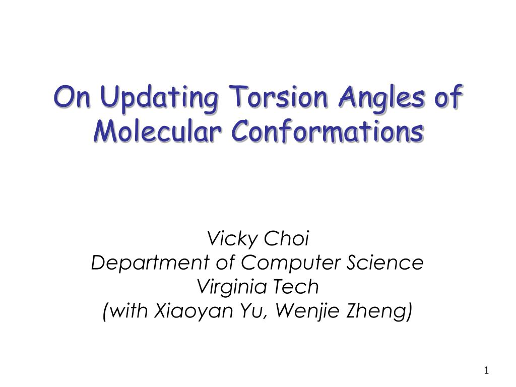 on updating torsion angles of molecular conformations l.