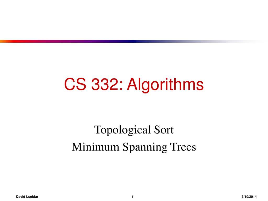 cs 332 algorithms l.