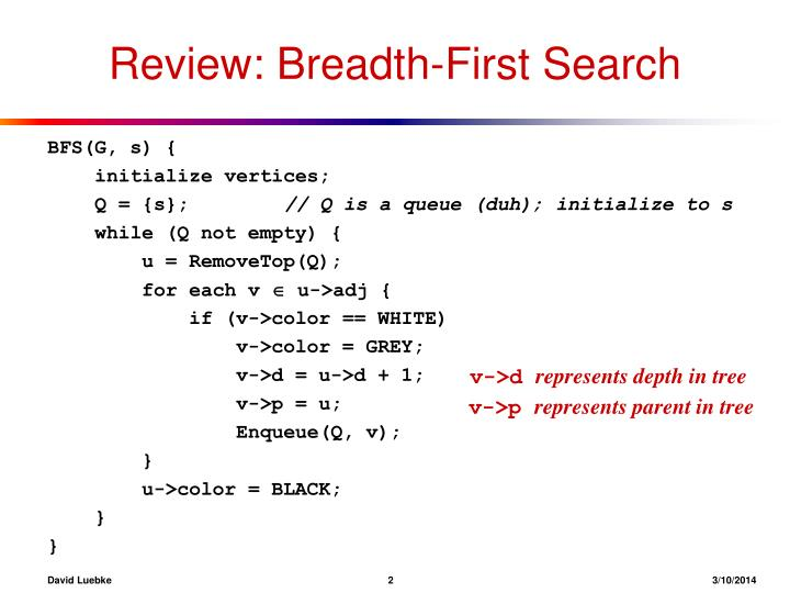 Review breadth first search