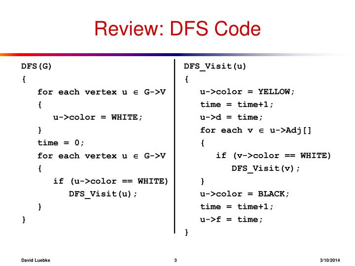 Review dfs code