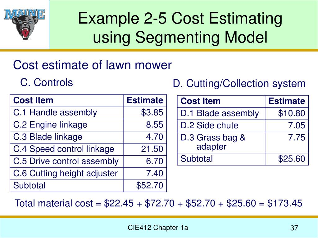 Example 2-5 Cost Estimating using Segmenting Model