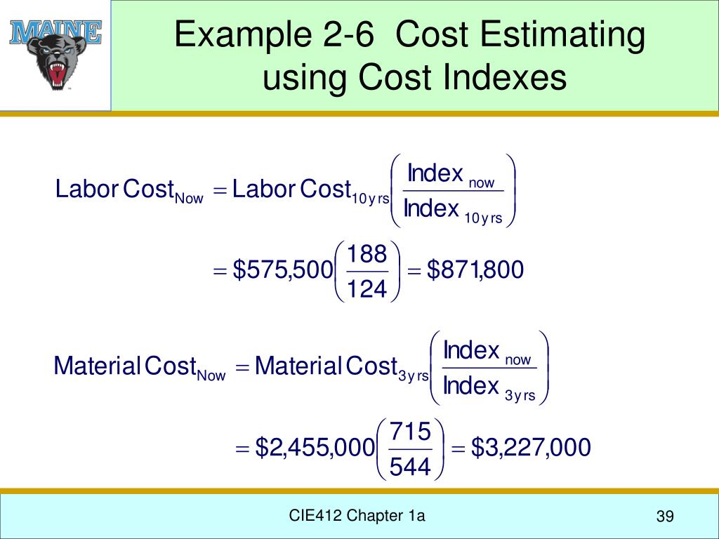 Example 2-6  Cost Estimating