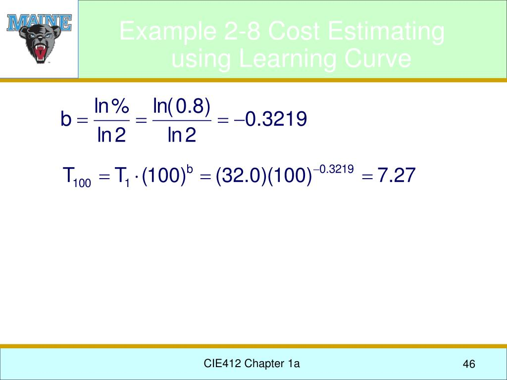 Example 2-8 Cost Estimating using Learning Curve
