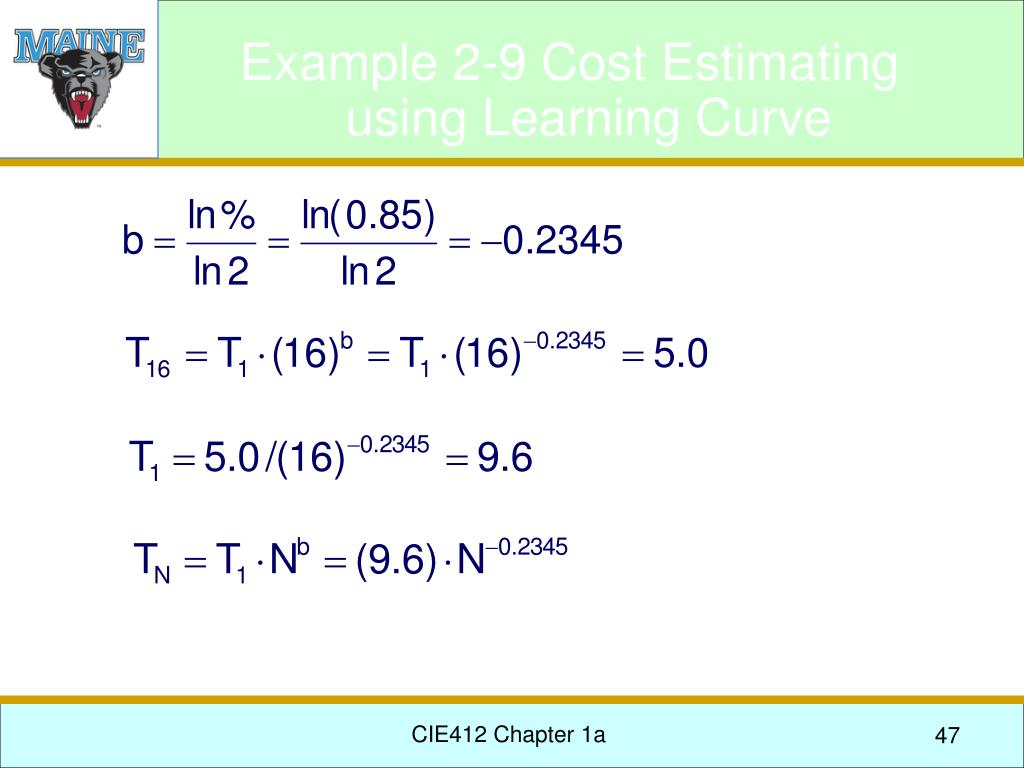 Example 2-9 Cost Estimating using Learning Curve