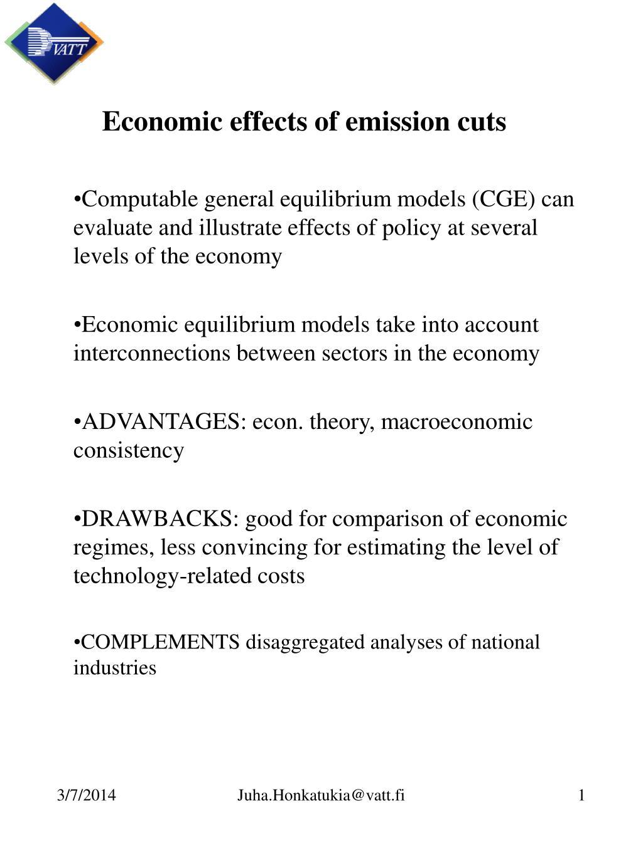 Economic effects of emission cuts