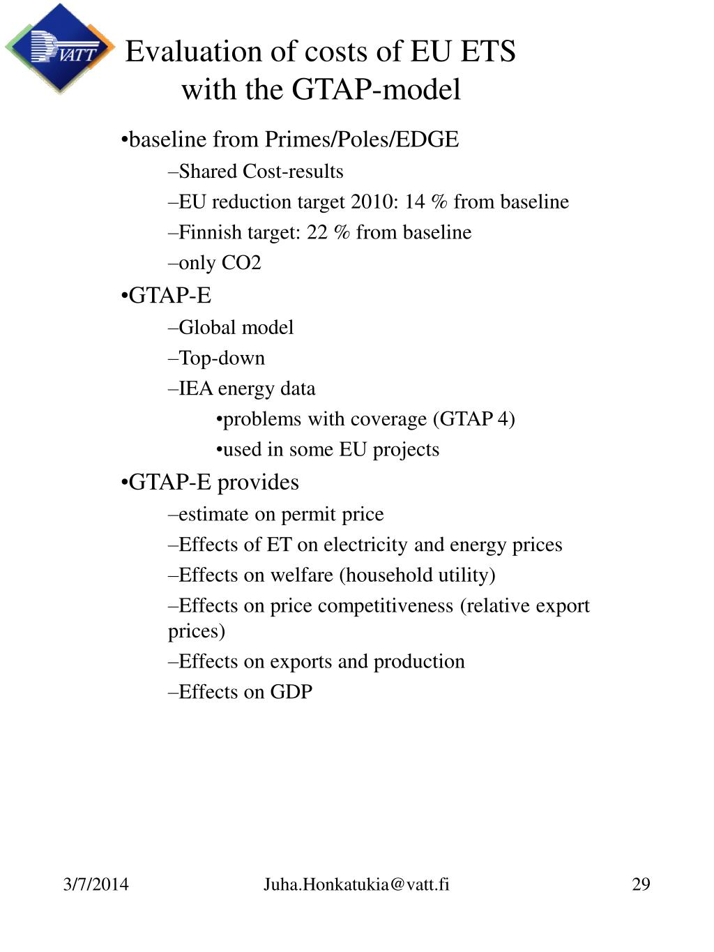 Evaluation of costs of EU ETS
