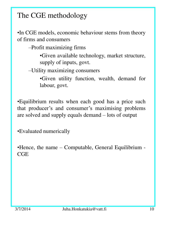 The CGE methodology