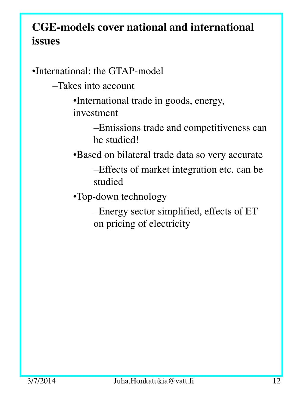 CGE-models cover national and international issues