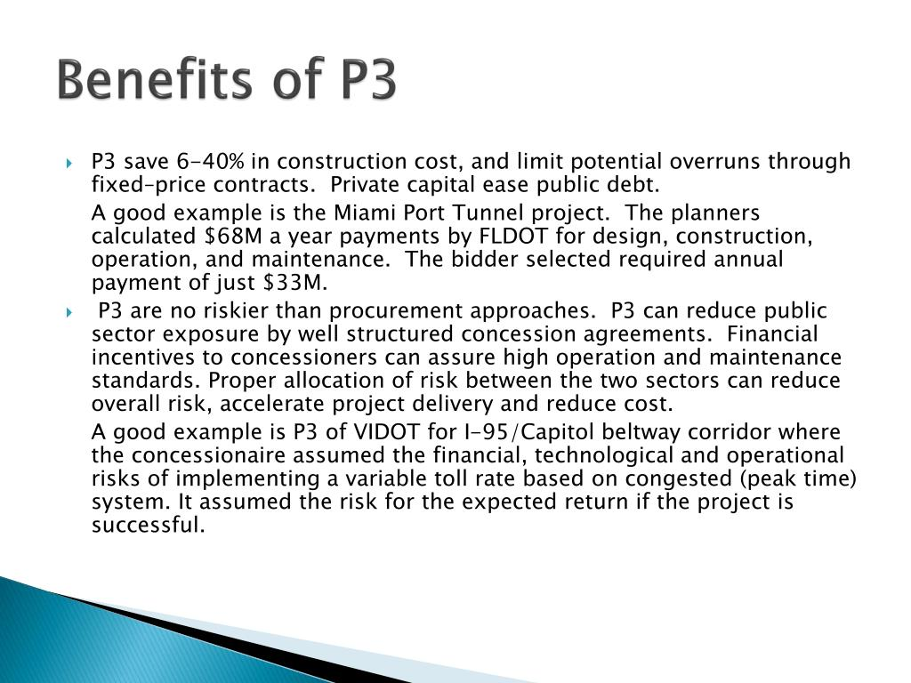 Benefits of P3