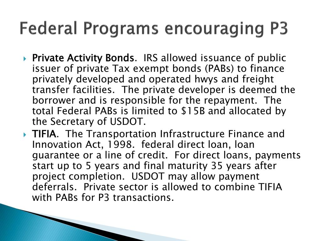 Federal Programs encouraging P3