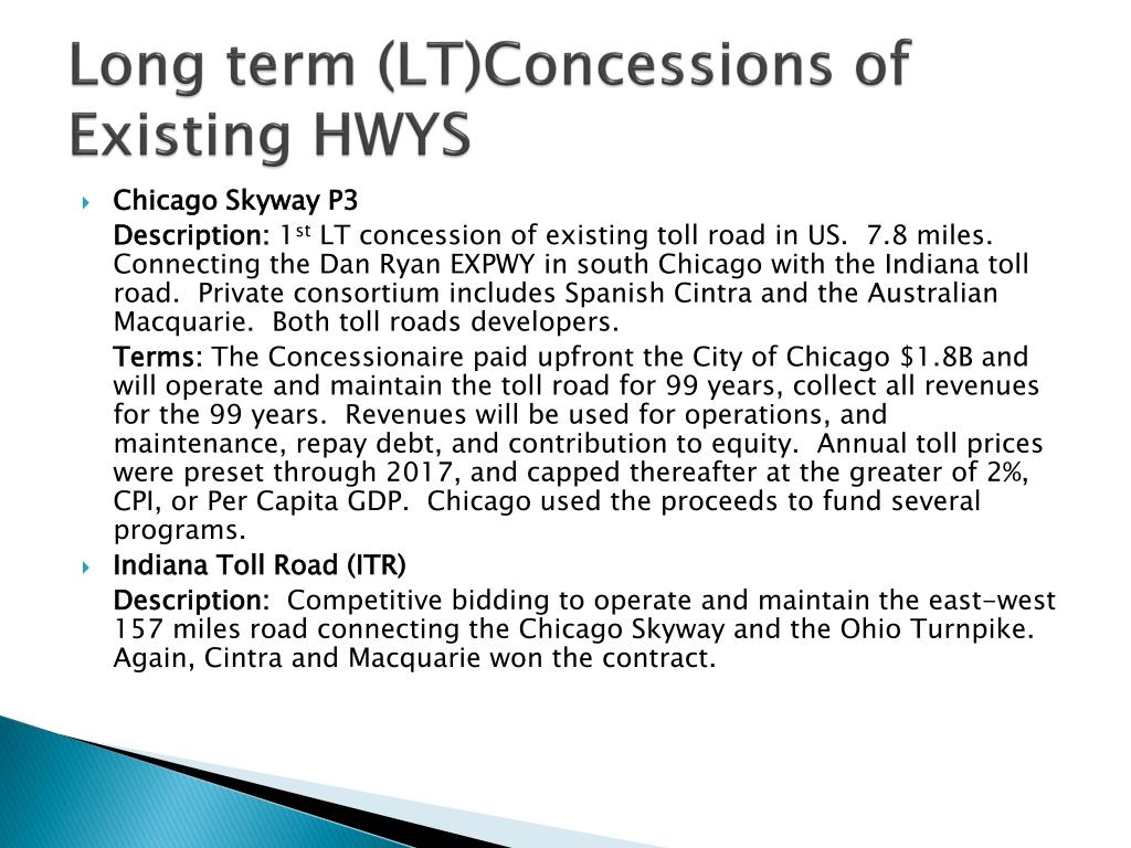 Long term (LT)Concessions of Existing HWYS