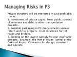 managing risks in p317