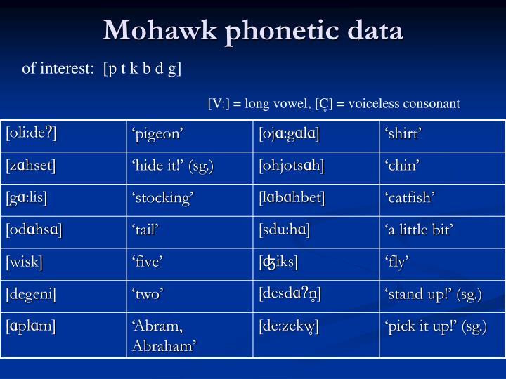 Mohawk phonetic data
