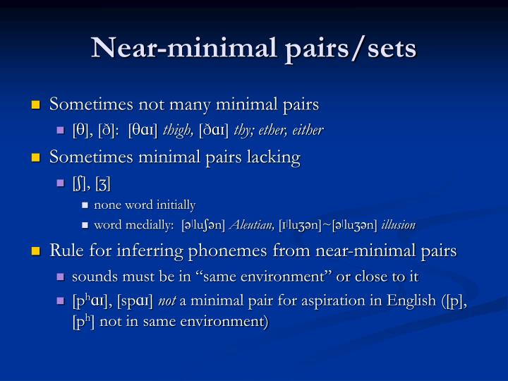 Near-minimal pairs/sets
