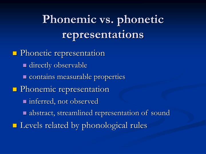 Phonemic vs phonetic representations