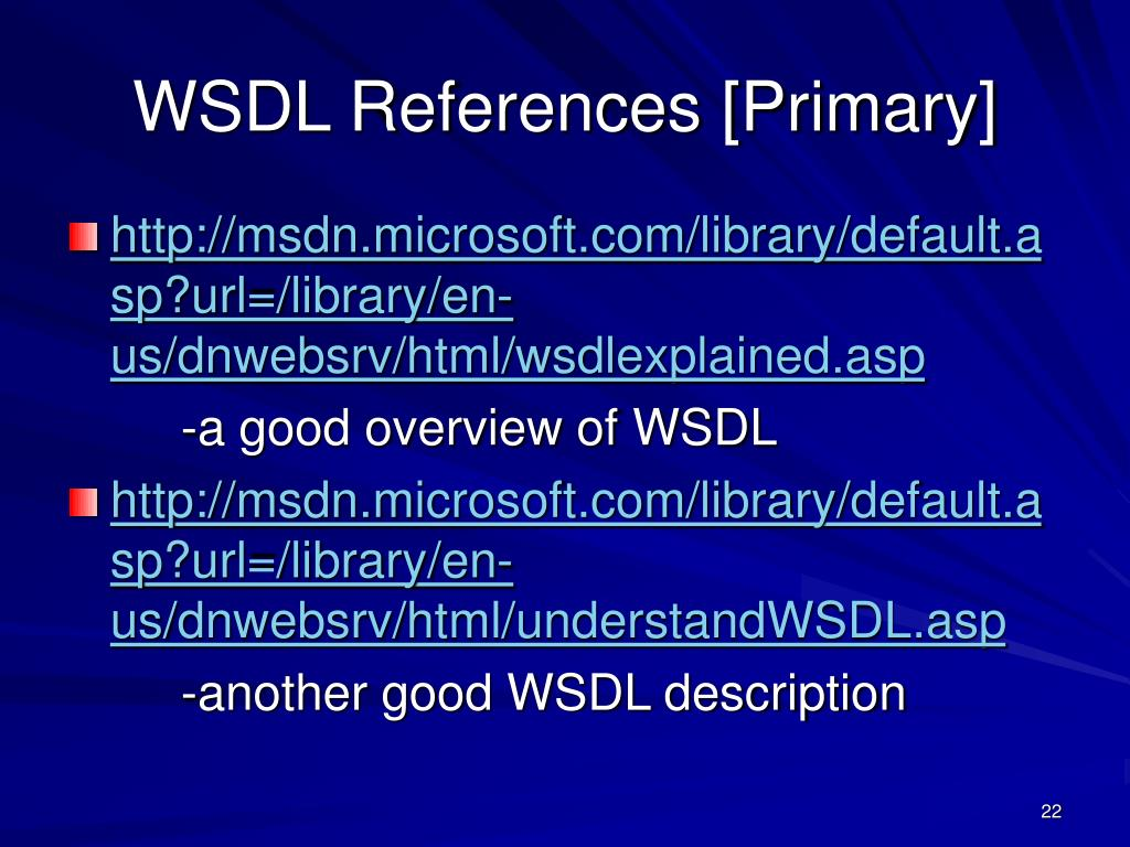 WSDL References [Primary]
