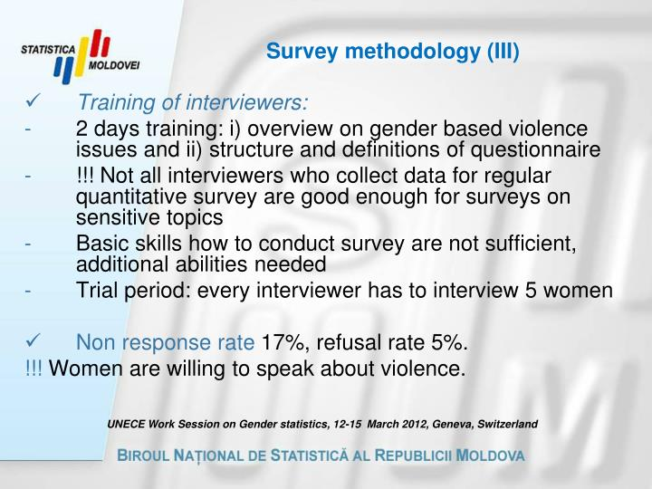 Survey methodology (III)