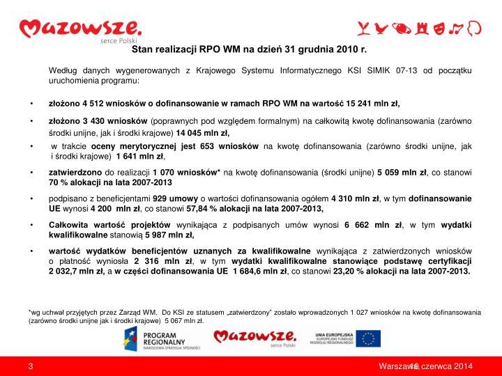 Stan realizacji rpo wm na dzie 31 grudnia 2010 r