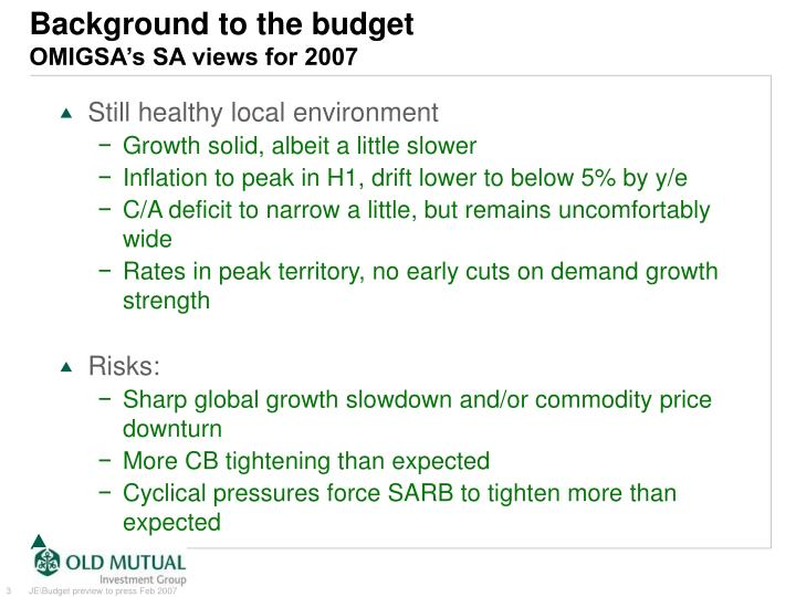 Background to the budget omigsa s sa views for 2007
