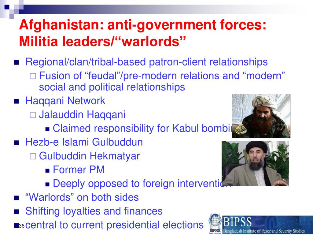 "Afghanistan: anti-government forces: Militia leaders/""warlords"""