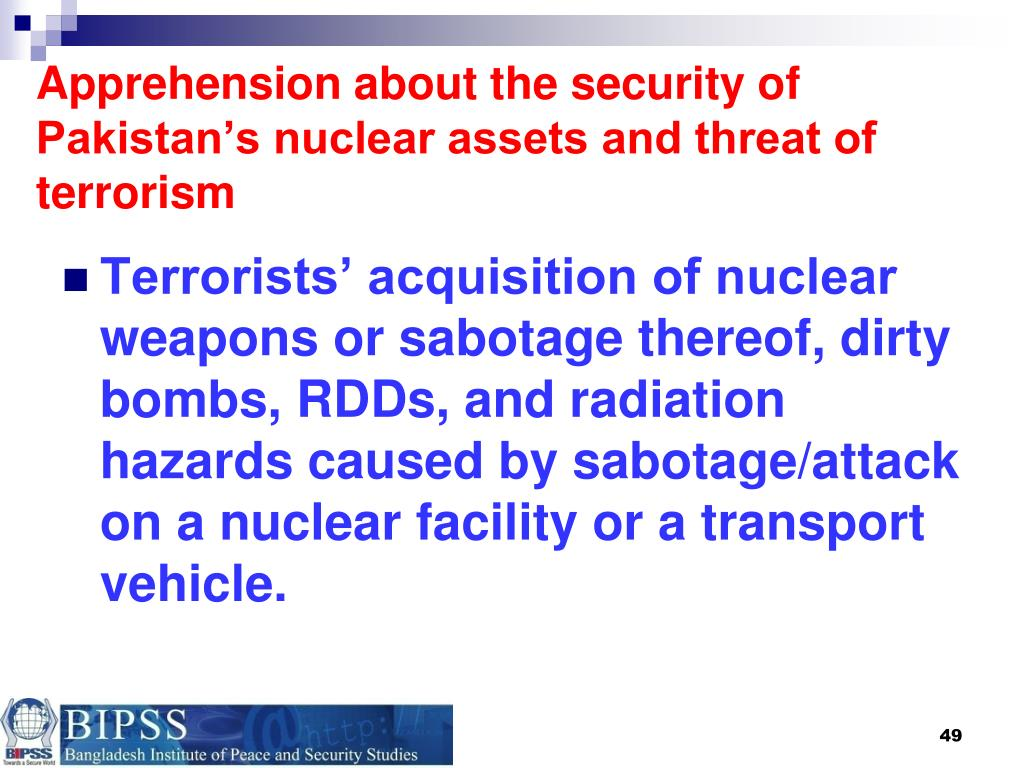 Apprehension about the security of Pakistan's nuclear assets and threat of terrorism