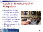 nature of terrorist threats in bangladesh