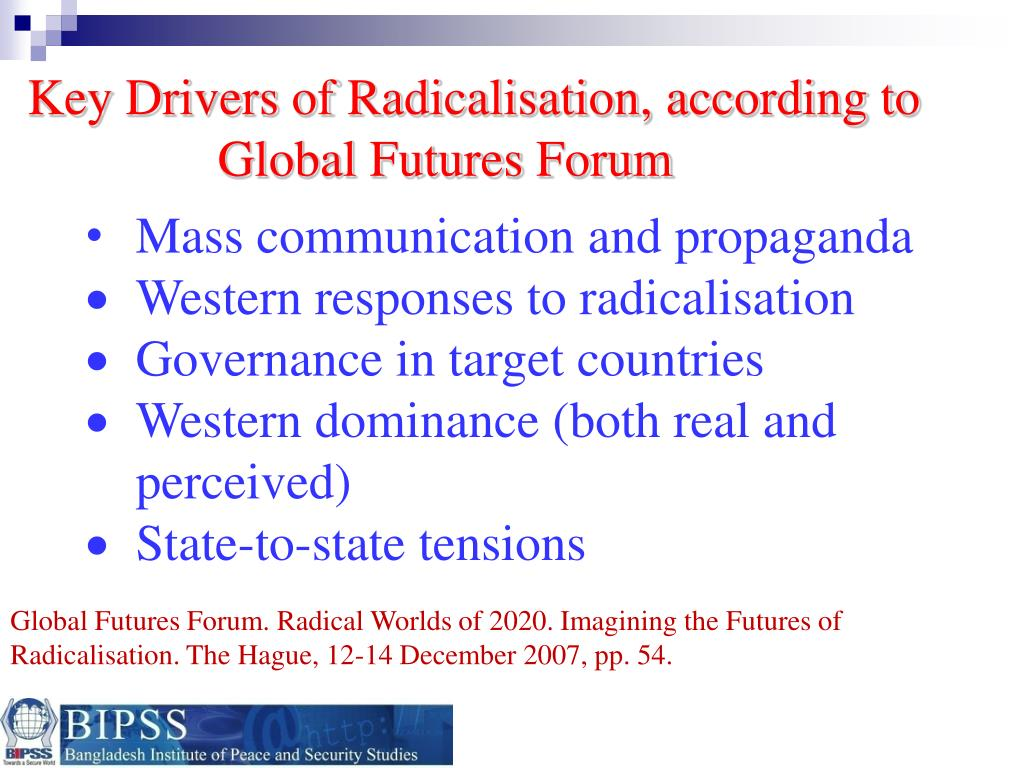 Key Drivers of Radicalisation, according to Global Futures Forum