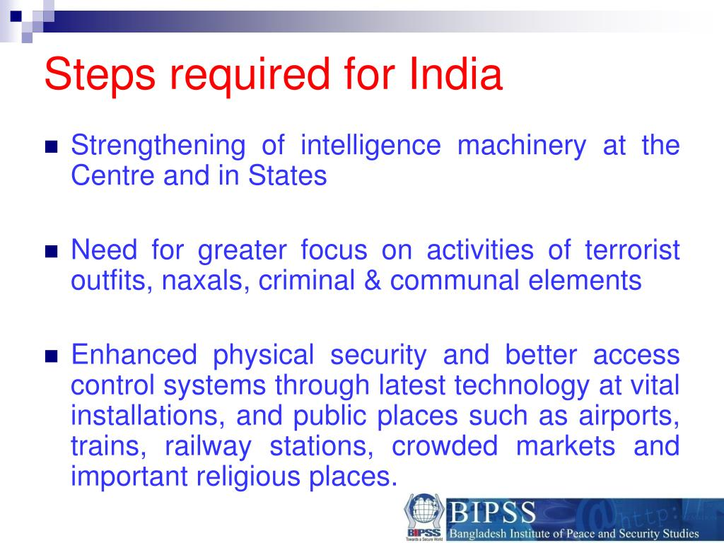 Steps required for India