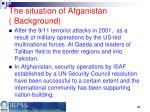 the situation of afganistan background
