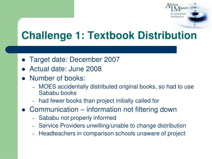 Challenge 1: Textbook Distribution