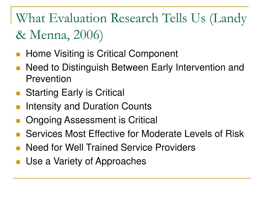 What Evaluation Research Tells Us (Landy & Menna, 2006)
