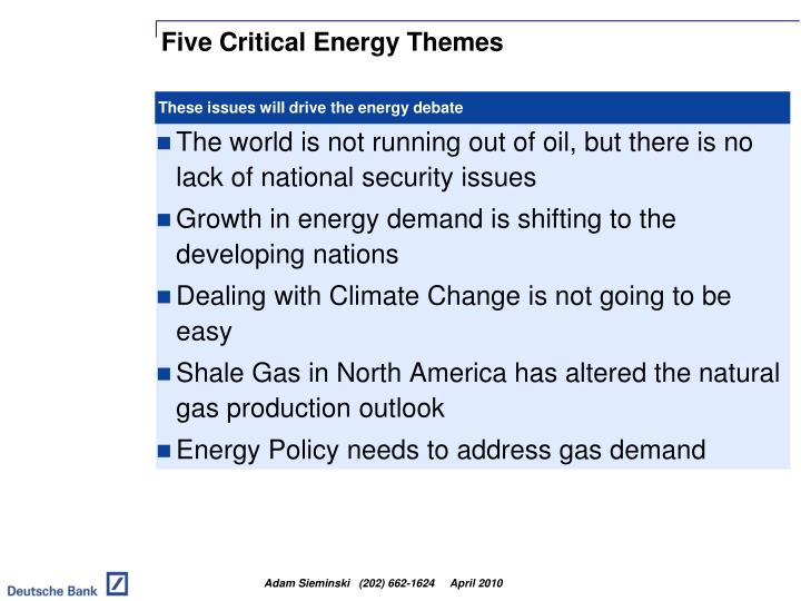 Five critical energy themes
